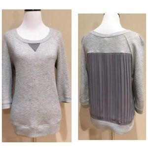 Anthro Eloise Grey Terry Pleated Back Pullover Top